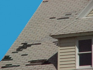 wind damage missing shingle