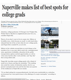 Naperville makes a list of best spots for college grads